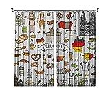 Cortinas plisadas con aislamiento térmico alemán, dibujado a mano de iconos de la cultura alemana, camiseta de fútbol científico y música, para travesaños y rieles, multicolor