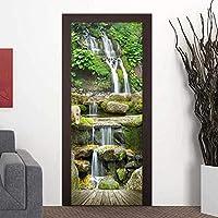 3Dドア壁壁画壁紙 Pvc防水ドアステッカー3D滝風景壁紙ドアデカール粘着ステッカー