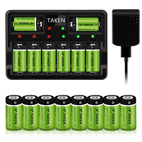 CR123A Rechargeable Batteries, Taken 3.7V 750mA Li-ion Batteries for Arlo Camera (VMC3030/VMK3200/VMS3330/3430/3530), 16 Pack RCR123A Batteries with 8-Ports Charger