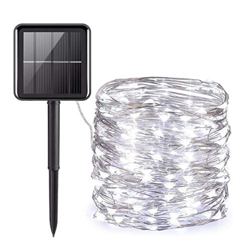 Upgraded Solar Powered String Lights,200LED Copper Wire Solar Fairy Lights 66Ft 8 Modes Waterproof Outdoor String Lights for Christmas, Party, Wedding, Garden, Yard, Home Decoration (66, Pure White)
