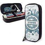 Ottumwa Iowa Gran capacidad Funda de lápiz de cuero Lápiz Pluma Papelería Titular Caja Organizador Escuela Marcador Bolígrafo Cosas Bolsa de viaje