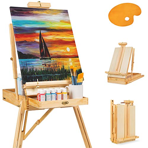 Best Choice Products Portable Wooden Folding French Easel Adjustable Sketch Box Artist Tripod for Painting, Drawing, Sketching w/Drawer, Pallet, Handle - Natural