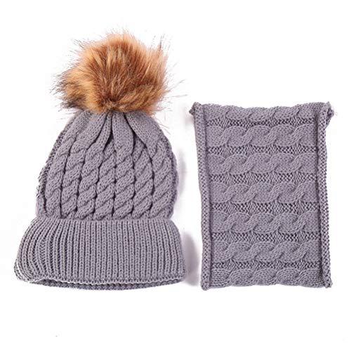 BSTOB Conjunto de Bufandas de Sombreros de Invierno para bebé niño niña, Lindo Gorro de Punto cálido y Bufanda Suave, Conjunto de Gorros de Bufanda para el Cuello