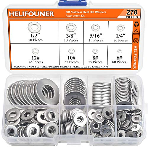 HELIFOUNER 270 Pieces 8 Sizes 304 Stainless Steel Flat Washers Assortment Kit, 1/2' 3/8' 5/16' 1/4' 12# 10# 8# 6#