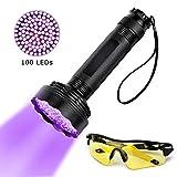 Aggiornato 100 Torcia a LED Lampada a luce ultravioletta a luce nera Torcia UV Rilevatore di urina per macchie di animali domestici Torcia luminosa con occhiali da sole UV Rilevazione manuale per ispe
