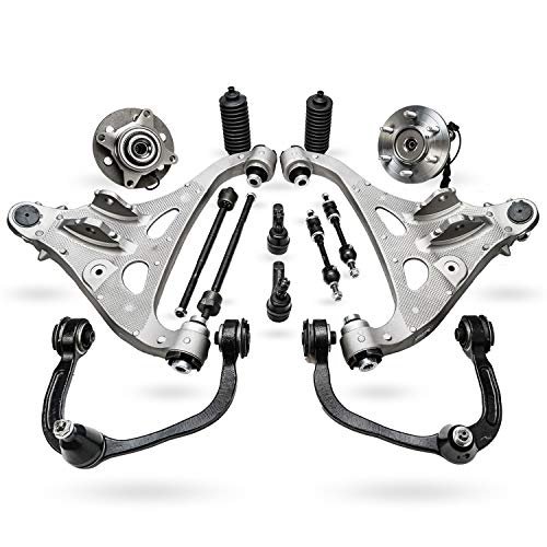 Detroit Axle - 14pc Front Upper Lower Control Arms w/Ball Joints Inner Outer Tie Rods w/Boots Sway Bar Links & Wheel Hub Bearings Replacement for Ford F-150 Lincoln Mark LT - 4WD See Fitment