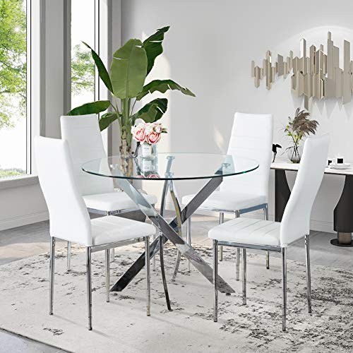 GOLDFAN Dining Table and Chairs Set 4 Modern Glass Round Dining Kitchen Table and Faux PU Leather Chairs Dining Room Set, White