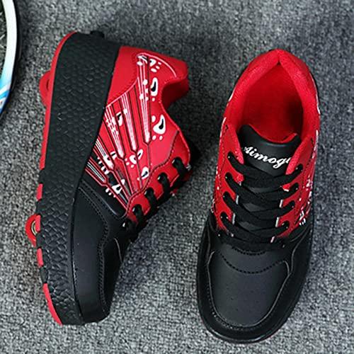 XRDSHY Chaussures À roulettes Trainer Roller Skates Shoes Chaussures pour Enfants avec Roues Sports De Plein Air Cross Light Up Shoes Baskets Fraîches,Black-36