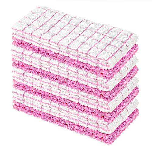 8er Pack Premium Frottee Geschirrtücher 40x64 cm in Weiß/Rosa kariert von StickandShine / 100% Baumwolle/Öko-TEX Standard 100 Materialien/Vintage