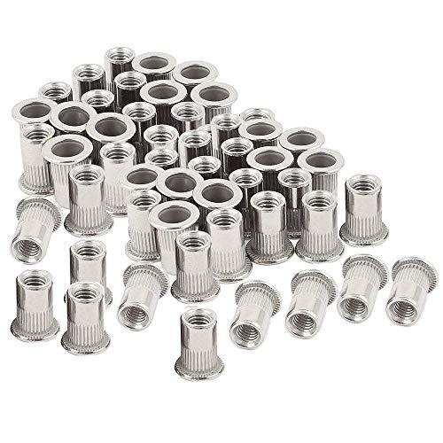 uxcell 60Pcs Zinc Plated Carbon Steel Car Rivet Nut Flat Head Threaded Insert Nutsert Kit #10-24 1//4-20