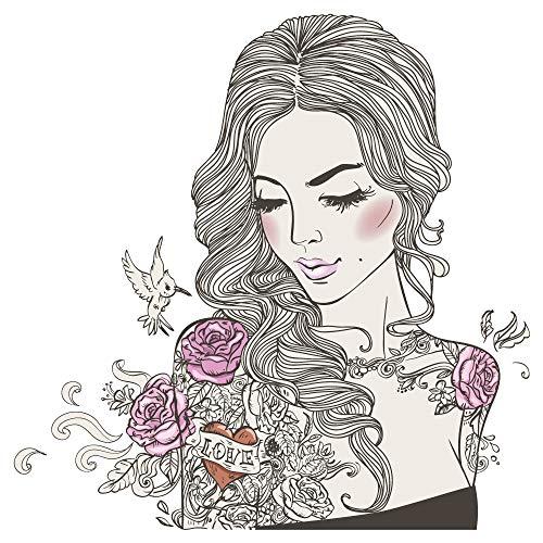 dekodino® Wandtattoo Modernes Design Frau mit Blumen Tattoos und Kolibri Vogel