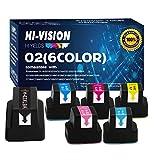 HI-Vision Compatible HP 02 Ink Cartridge for Photosmart C6280 D7155 D7160 C7280 C7250 C5180 C6180 D7360 D7460 C7200 3108 3110 3210 3210-xi 3310 8230 8250 C5100 C5140 C5150 C5180 Printers (6-Colors)