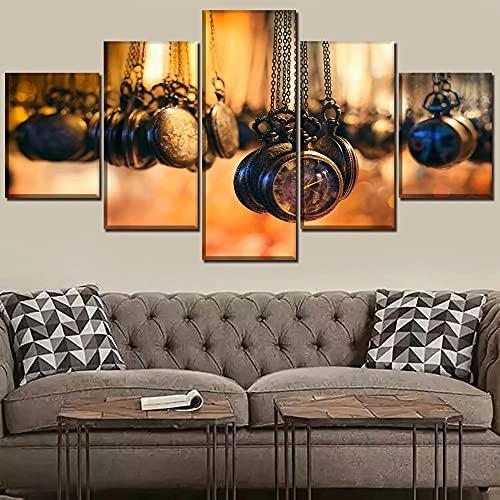 JINGMEI Canvas HD Picture 5 Combinación De Pared Reloj De Bolsillo Vintage Dormitorio Sala De Estar Habitación De Los Niños Cartel De Regalo Decoración De Arte De Pared