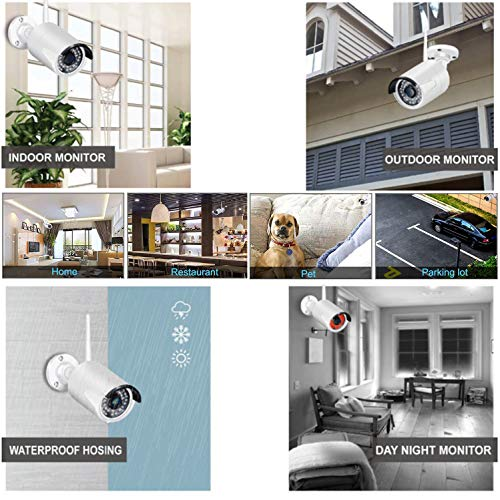 1080P 8 Channel Security Ca   mera System, 8CH Wireless Cameras System with Night Vision, Motion Detection, Built in Microphone, IP66 Weatherproof Surveillance Cameras with 3TB Hard Drive