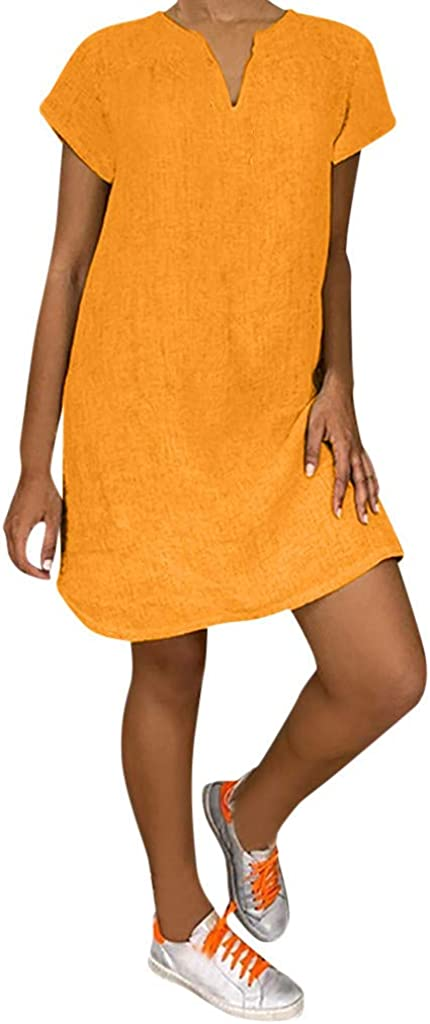 Jinjin2 Womens Summer Dress Solid Loose V Neck Short Sleeve Casual Dress Elegant Beach Skirt Boho Dress