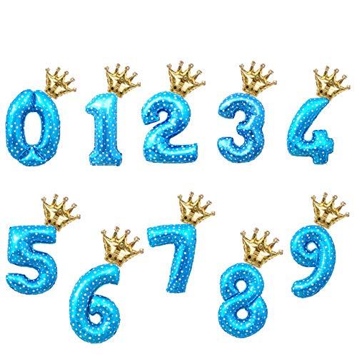 Mohammed Globos de Papel de Aluminio con números de Arco Iris de 32 Pulgadas,Decoraciones para Fiestas de cumpleaños,Globos de 0 a 9 dígitos para niños,Oro Rosa,Rosa,Plata,Azul