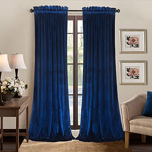 SOFJAGETQ Room Darkening Velvet Curtains - Light Blocking Rod Pocket Super Soft Luxury Curtain Drapes for Bedroom and Living Room, Set of 2 Window Curtain Panels, 52 x 84 Inches Long, Royal Blue