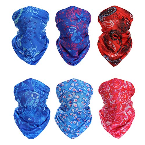 TWO POINT Neck Gaiter Face Mask Bandana (6-pack) | Neck Gaiters for Men, Women | Buff Face Mask | Face Buff | Neck Gators | Mens Neck Gaiter | Womens Neck Gaiter | Breathable Neck Gaiter Face Cover