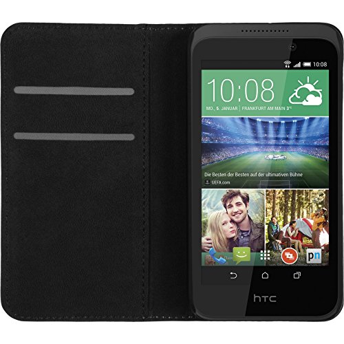 PhoneNatic Kunst-Lederhülle kompatibel mit HTC Desire 320 - Book-Hülle weiß + 2 Schutzfolien