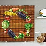 AIDEMEI Frisches Obst Und Gemüse Muster Duschvorhang Tomaten Kürbis Weißer Hintergr& Design Badezimmer Dekoration wasserdichte Gardinen 180 * 180CM