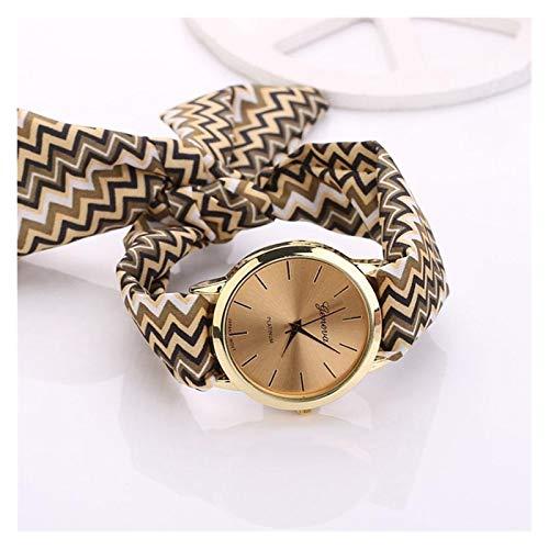 xjS Modeuhr Ethnische Art Tuch mit Damenuhr Automatik Frauen Blumenuhr Quarz-Armbanduhr Armband Bayan für Frauen (Color : Brown)