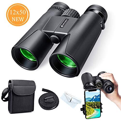 Fernglas 12x50 Fernglas Kompakt, HD Wasserdicht Binoculars, Wandern, Jagen, Sightseeing, Kleines Fernglas für Erwachsene und Kinder, FMC-Linse, Tragetasche und Smartphoneadaptera