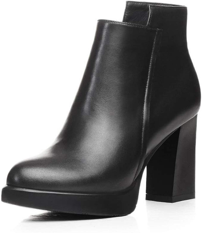 AdeeSu kvinnor Chunky klackar Points -Toe Zipper Cow läder stövlar SXE04586