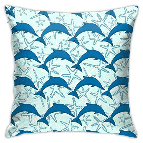 AOOEDM Juliet store Dolphin Throw Pillow Covers Cotton Polyester Cushion Cover Cases Pillowcases Sofa Home Decor 18 x 18 Inch 45cm