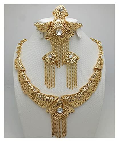 LPZW 2020 Fashion Gold Color Nigerian Body Body African Beads Set Wholesale Saudi Necklace Pulsera Pendiente Anillo Juego de joyería (Main Stone Color : Gold, Metal Color : Antique Gold Plated)