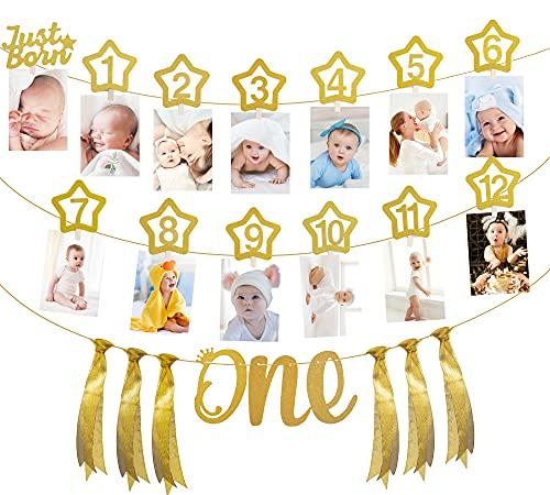 Cumpleaños Foto Banner, 12 Meses Fotografía Bebé Marco Foto Bunting Guirnalda Decoración para el Primer Cumpleaños, Comunión, Baby Shower Fiesta, Bautismo, Bautizo