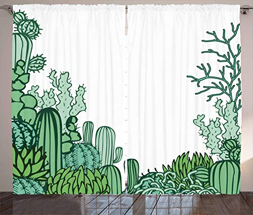 Ambesonne Cactus Decor Curtains, Arizona Desert Themed Doodle Cactus Staghorn Buckhorn Ocotillo, Living Room Bedroom Window Drapes 2 Panel Set, 108 W X 63 L inches, Green Light Green Seafoam