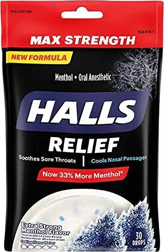 Halls Menthol Oral Anesthetic Drops, Intense Cool, 30 ct