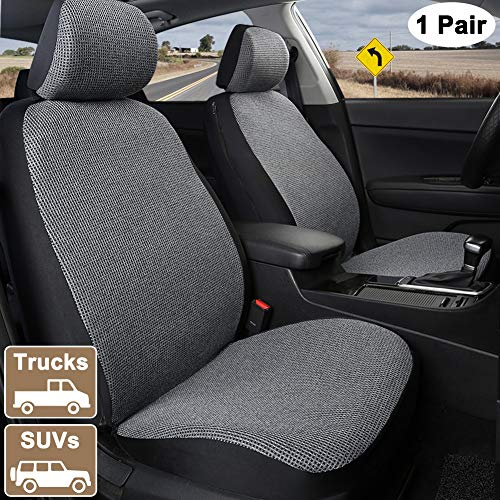 GIANT PANDA Seat Covers for Trucks Chevy Silverado,Dodge Ram,Ford F-Series. High Back Front Seat Cover for Pickup and Trucks,Black and Grey