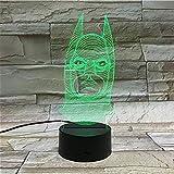 Lámpara De Ilusión Marvel Superhero 3D Night Light Led Touch - Lámpara De Mesa Pequeña-Base Con Despertador_Batman 1
