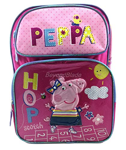 Peppa Pig Pink Backpack School Book Bag Backpack 16' for Kids