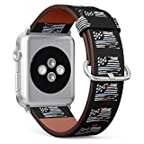 (Hand Drawn Flag of USA with Thin Blue Line) Patterned Leather Wristband Strap for Apple Watch Series 4/3/2/1 gen,Replacement for iWatch 38mm / 40mm Bands