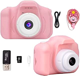 Kids Digital Camera for Girls Age 3-10, Toddler Cameras Mini Cartoon Rechargeable Video Camera with 2 Inch IPS Screen and ...