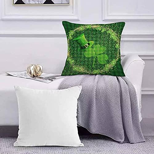 Ccstyle Funda de Cojín Funda de Almohada del Hogar St.Patrick's Day Shamrock Green Hat Halo Brillante Square Soft and Cozy Pillow Covers,