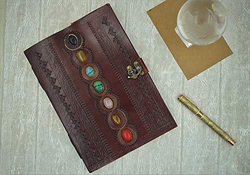 GnG - Diario in pelle con pietra medievale dei sette chakra, realizzato a mano, libro delle ombre, diario dell ufficio e poesia, 17 x 25 cm