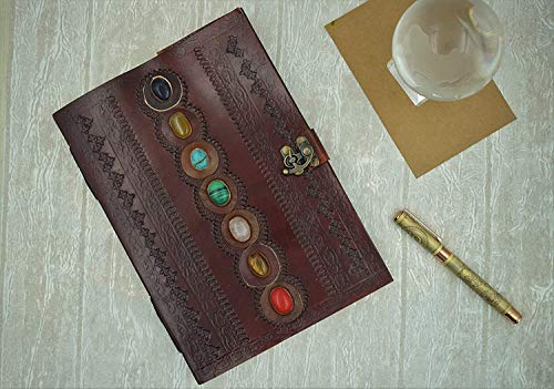 OVERDOSE Leather Journal Book Seven Chakra Medieval Stone Embossed Handmade Book of Shadows Notebook Office Diary College Poetry Sketch Book 7 x 10 Inches