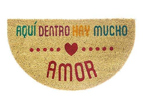 Fisura DM0098 Felpudo Fibra de Coco Semicircular Frases Divertido y Original Entrada Casa con Mensaje de Amor Aquí Dentro Hay Mucho Amor, 40 x 70 cm