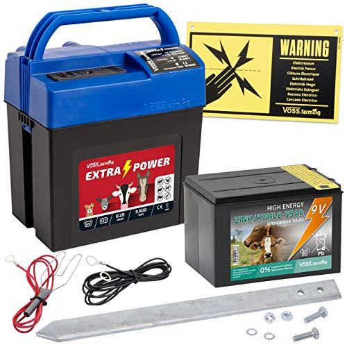 VOSS.farming Weidezaun Set Extra Power9V Elektrozaungerät Starterset mit Batterie Weidezaungerät Mobil Paddock Elektrozaun Rinderzaun Pferdezaun