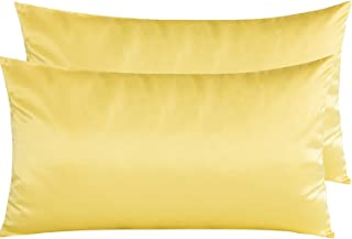 NTBAY Zippered Satin Pillowcases, Super Soft and Luxury King Pillow Cases Set of 2, Yellow