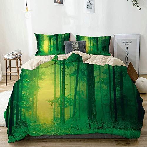 Juego de fundas nórdicas Beige, Mystic Fantasy Springtime Forest Tall Trees Magical Fairytale Twilight Lámina Imprimir Verde, Decorativo Juego de cama de 3 piezas King Size con 2 Fundas de almohada Cu
