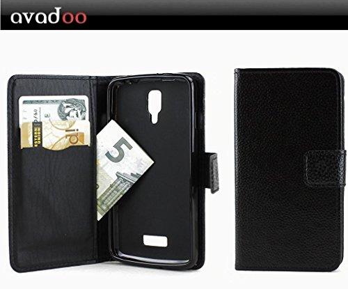 avadoo® Medion Life P5001 Flip Case Cover Tasche Schwarz mit Magnetverschluss & Dualnaht als Cover Tasche Hülle