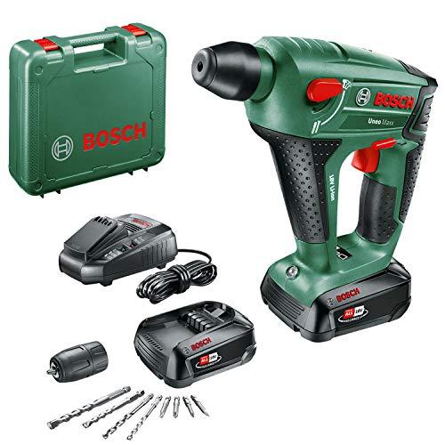 Bosch UneoMaxx - Martillo perforador a batería (2 baterías 18V, cargador, adaptador de vástago redondo, 2 brocas para hormigón SDS-Quick, 2 brocas universales, 4 láminas Bit, maletín)