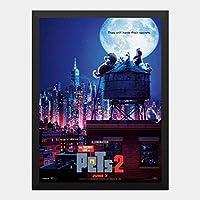 ハンギングペインティング - ペット 2 The Secret Life of Pets 2 2のポスター 黒フォトフレーム、ファッション絵画、壁飾り、家族壁画装飾 サイズ:33x24cm(額縁を送る)
