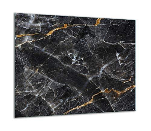 QTA | Herdabdeckplatte 60x52 Einteilig Glas Elektroherd Induktion Herdschutz Spritzschutz Glasplatte Schneidebrett Schwarz Marmor