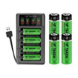 14430 3.2 Volt Rechargeable Solar Battery with Charger, Taken 3.2V 450mAh 14430 LiFePo4 Rechargeable Battery for Solar Panel Outdoor Garden Lights, 8 Pack 14430 Battery with 4-Ports LiFePo4 Charger