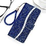 Yun AYDD para Redmi Note 7 Pro Glitter Powder Horizontal Flip Funda con tragamonedas y Soporte y cordón (Color : Blue)